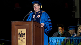Image of interim president, Mary J. Meehan, from the Seton Hall 2019 undergraduate commencement.