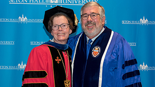 Image Tracy Gottlieb and Bob Ley from the Seton Hall 2019 undergraduate commencement.
