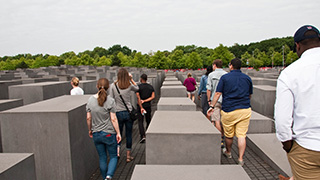 Group of tourists at the Holocaust Memorial.