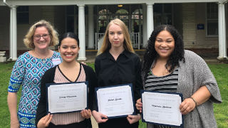 (l-r) Professor Mary Landriau with Yenny Masmela, Rachel Brooks, and Marissa Barbosa who will begin work at NJ DCP&P after graduating from the BCWEP program this May.