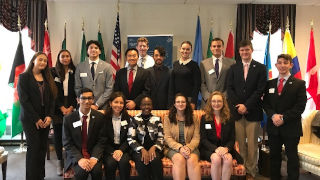 Ambassador pictured with Leadership Students