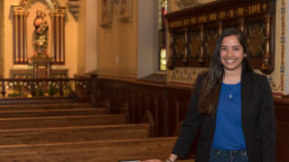 Angeli Fernandes in the chapel.